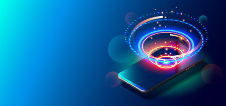 Modern Mobile Cell Phone on Colorful Background.