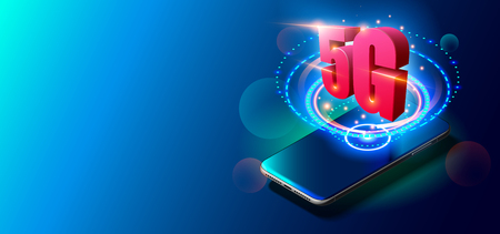 5G Technology and Mobile Networks Concept on Colorful Background.