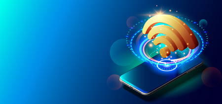 Creative Vector Illustration of WiFi 5G Network Wireless Technology Vector Illustration.