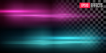 Purple and Blue Lens Flares with Streaking Distortion. Transparent Light Effect. Vector Illustration of Glowing Fog. Concept Graphic Element.