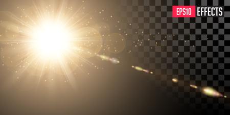Creative Vector Illustration of Golden Shining Sun with Transparent Rays and Lenses Refraction. Gold Detonation Effect. Concept Graphic Element. Ilustração