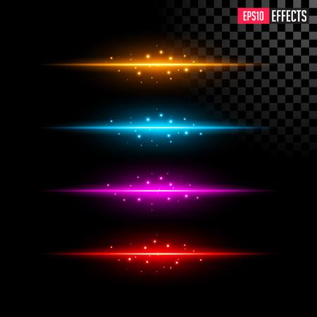 Set of Abstract Lighting Flare. Element Four Color Light with Lens Effect. Concept Graphic Element. Ilustração
