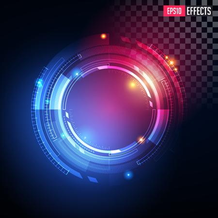 Creative Vector Illustration of Technological Light Effect, Futuristic Illuminated Scene. Shining Spotlights. Concept Graphic Element.
