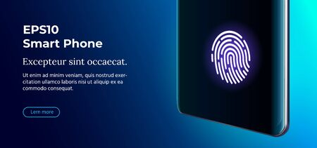 Vector 3D Realistic Cell Phone with Fingerprint ID Icon.
