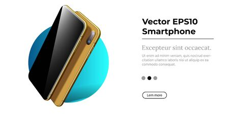 Golden Smartphone with Frameless Blank Screen in Rotated Position. Illustration