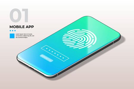 Fingerprint Scanner on Phone Screen. Biometric Identification and Approval Concept. Ilustração