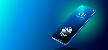 Fingerprint Scanner on Phone Screen. Biometric Identification and Approval Concept.  イラスト・ベクター素材