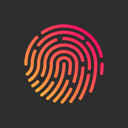 Fingerprint Icon on the Dark Grey Background.