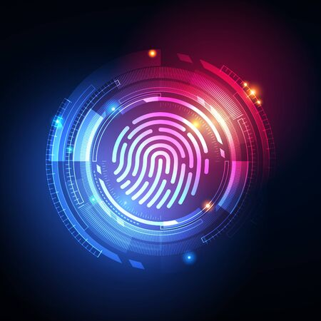Fingerprint Biometric Identity and Approval Concept. Vector Illustration. Ilustração