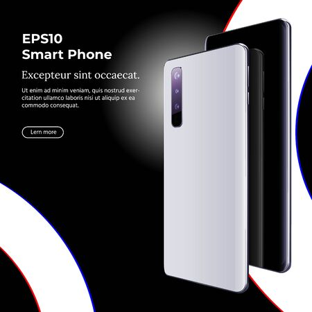 Smartphone with Multi-camera and Ultra-wide Camera on Black Background. 写真素材
