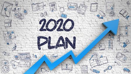 2020 Plan Drawn on Brick Wall. Illustration with Doodle Design Icons.