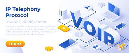 VOIP IP Telephony Services - Isometric Vector Concept Illustration. Иллюстрация