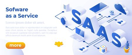 SAAS - Isometric Vector Illustration. Website Banner Layout Template. Illustration