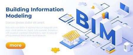 BIM - Building Information Modeling ou Life-Cycle Facility Management. Concept isométrique en couleurs Trandy. Métaphore du segment de la gestion de la construction. Modèle de mise en page de bannière de site Web. Illustration vectorielle