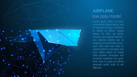 AIRPLANE - Low Poly Wireframe Style Design. Digital Vector illustration