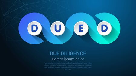 DUED - Concept with Big Word or Text. Blue Trendy Tamplate for Web Banner or Landig Page.