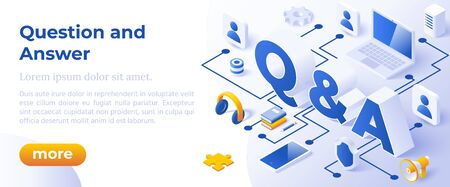 QUESTION AND ANSWER - QNA, - Isometric Design in Trendy Colors. Isometrical Iconswith letters Symbols Q and A on Blue Background. Banner Layout Template for Website and Mobile Website Development. Ilustração