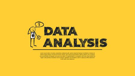 Data Analysis - Simple Design with Cartoon Businessman Silhouette Isolated on Yellow Background. Illustration for Analysis Service, Artificial Intelligence Learning and Big Data. Web Design Template.