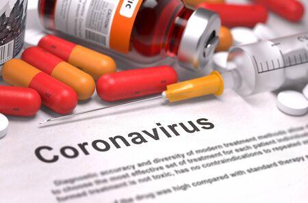 Diagnóstico - Coronavirus. Informe médico con composición de medicamentos: píldoras rojas, inyecciones y jeringa. Enfoque selectivo. Render 3D.