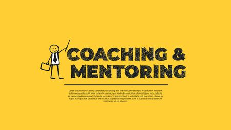 Coaching and Mentoring - Simple Design with Cartoon Businessman Silhouette Isolated on Yellow Background. Illustration for Successful Stories, Positive Inspirations and New Opportunities. Web Template