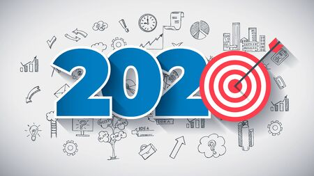 Year 2020 - Business Concept with Target. Hand Drawn in Red and Blue Colors Creative Text, on Hand Drawn Business Icons Background. Modern Vector Illustration or Design Template. Ilustrace