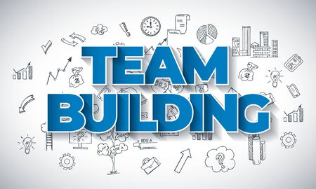 Team Building - Creative Business Concept. Hand Drawn in Red and Blue Colors Creative Text, on Hand Drawn Business Icons Background. Modern Vector Illustration or Design Template.