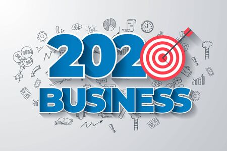 2020 Business. Creative Thinking within 2020 Year Text, on Hand Drawn Business Background. Modern Vector Illustration Web Design Template. Ilustrace