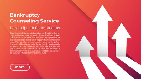 BANKRUPTCY COUNSELING SERVICE - Web Template in Trendy Colors. Business Arrow Target Direction to Growth and Success. Modern Vector Illustration or Design Template. Ilustrace