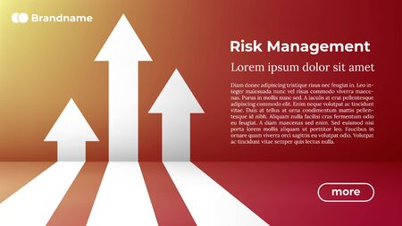Risk Management - Web Template in Trendy Colors. Business Arrow Target Direction to Growth and Success. Modern Vector Illustration or Design Template. Ilustracja
