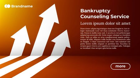 BANKRUPTCY COUNSELING SERVICE - Web Template in Trendy Colors. Business Arrow Target Direction to Growth and Success. Modern Vector Illustration or Design Template. Çizim
