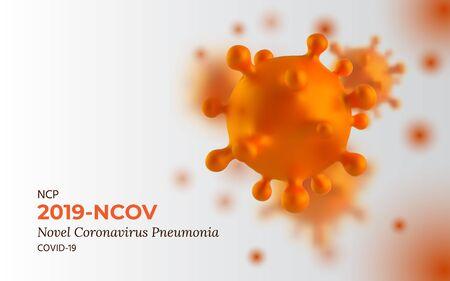 Novel Coronavirus 2019-nCoV. SARS-CoV-2 is a Positive-sense Single-stranded RNA Virus. Background with realistic 3d orange Viruses Cells. SARS-CoV2. Vector illustration with Selective Focus.