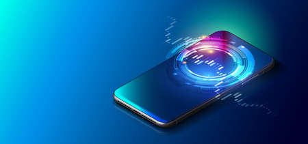 Vector realistic Smartphone on blue controls stock market forex trading graph futuristic Smart investment technology controlling protection system global Network financial Investment economic Trends