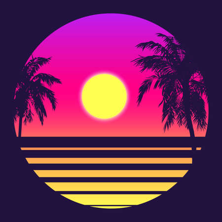 Retro 80s Style Tropical Sunset with Palm Tree Silhouette and Gradient Sky Background. Classic 80s Retro Design. Digital Retro Landscape Cyber Surface. 80s Party Background. Trendy Vector Illustration