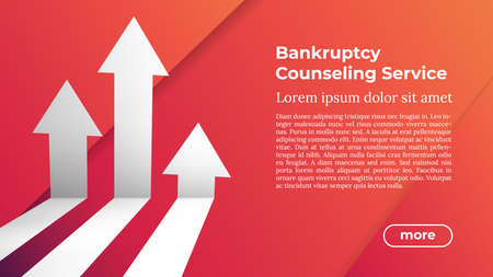Web Template in Trendy Colors - BANKRUPTCY COUNSELING SERVICE. Business Arrow Target Direction to Growth and Success. Modern Vector Illustration or Design Template.