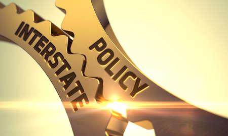 Policy Interstateon Golden Metallic Cog Gears. Policy Interstate - Technical Design. Policy Interstate - Concept. Policy Interstate Golden Metallic Gears. 3D Render. Zdjęcie Seryjne