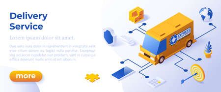 DELIVERY SERVICE - Isometric Design in Trendy Colors Isometrical Icons on Blue Background. Banner Layout Template for Website Development Векторная Иллюстрация