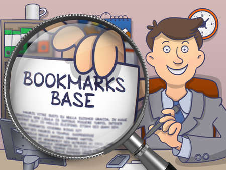 Bookmarks Base. Text on Paper in Business Mans Hand through Magnifying Glass. Colored Modern Line Illustration in Doodle Style.