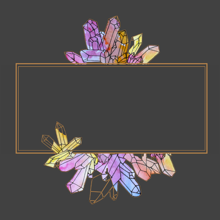 Hand painted watercolor crystals template isolated on dark background.