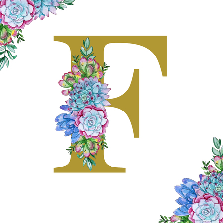 Floral watercolor alphabet art. Combination of gold F letter and succulents to create delicate designs