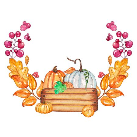 Watercolor autumn pattern with pumpkins, yellow leaves, berries in box. Invitation card. Elements in round shape isolated on white background. Ideal for design banners, leaflets, invitation cards. Imagens