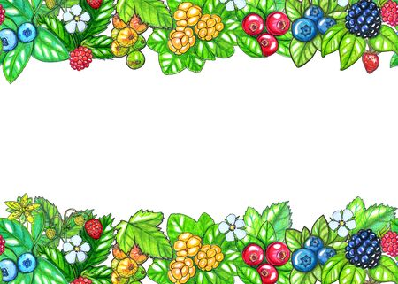 Hand painted watercolor Seamless border with berries and leaves isolated on white background. Perfect for design, textile, cards, washi tapes and other projects
