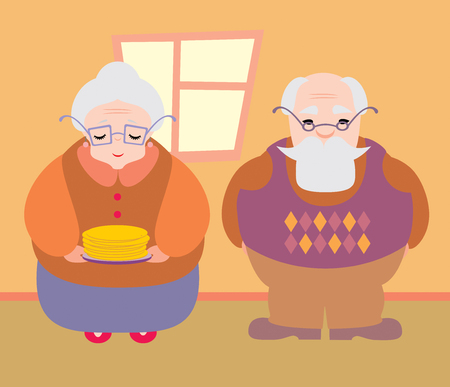 Grandparents with pancakes Vector
