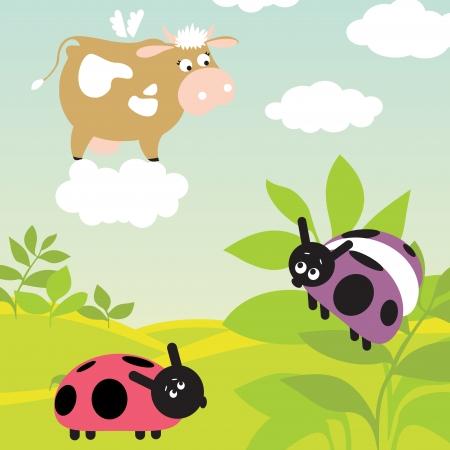 ladybug on leaf: two ladybugs and flying cow on the cloud