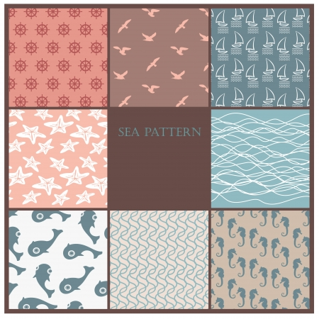 sea pattern set Vector