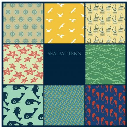 바다 패턴 세트 일러스트