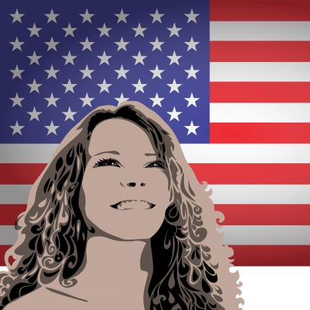 greatness: woman on the background of the USA flag