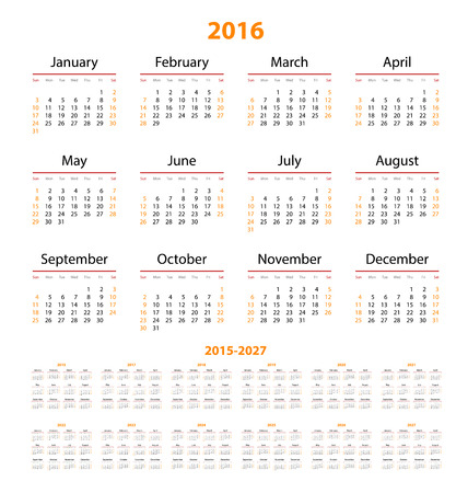 Calendar  2015, 2016, 2017, 2018, 2019, 2020, 2021, 2022, 2023, 2024, 2025, 2026, 2027  year.  Week starts from sunday. Vector illustration. Vector