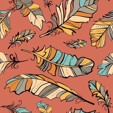 softly: seamless pattern of colored feathers, vector pattern