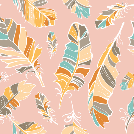 marriage bed: seamless pattern of colored feathers, vector pattern