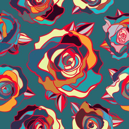 seamless pattern of colored roses, vector pattern